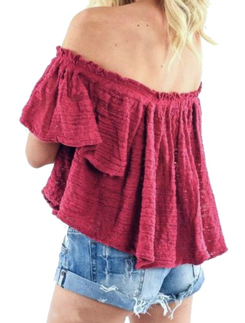 Free People Lightweight Off The Shoulders Sheer Swingy Super Soft Top Raspberry Image 1