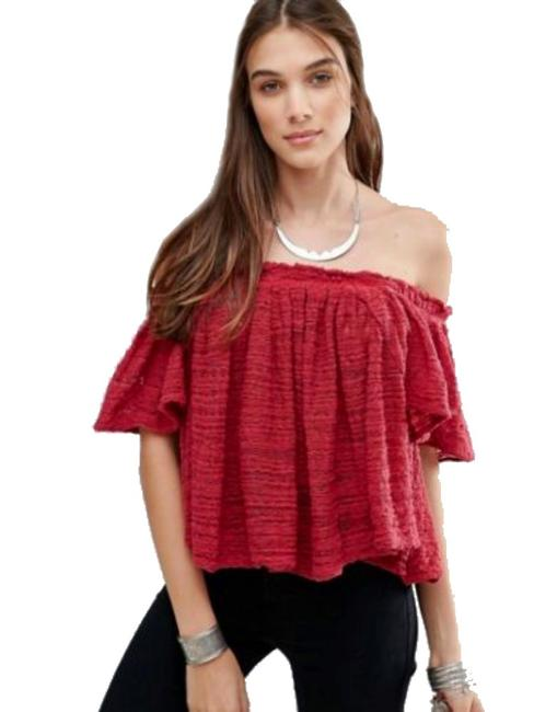 Free People Lightweight Off The Shoulders Sheer Swingy Super Soft Top Raspberry Image 2