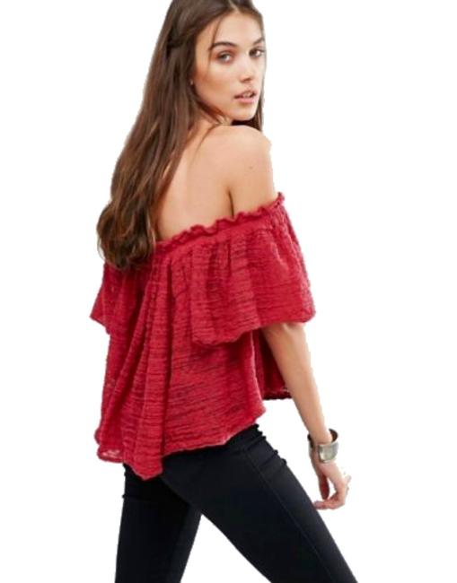 Free People Lightweight Off The Shoulders Sheer Swingy Super Soft Top Raspberry Image 3