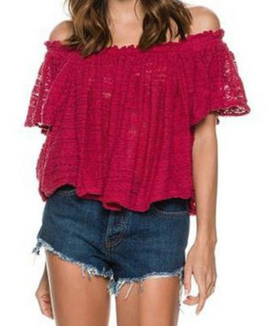 Free People Lightweight Off The Shoulders Sheer Swingy Super Soft Top Raspberry Image 4