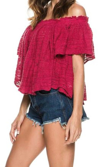 Free People Lightweight Off The Shoulders Sheer Swingy Super Soft Top Raspberry Image 5