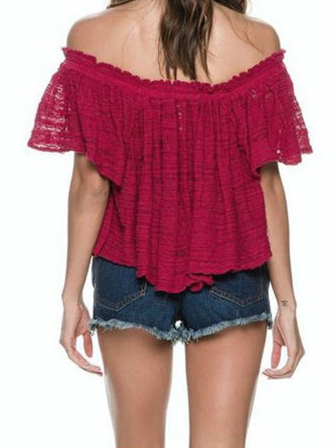 Free People Lightweight Off The Shoulders Sheer Swingy Super Soft Top Raspberry Image 6