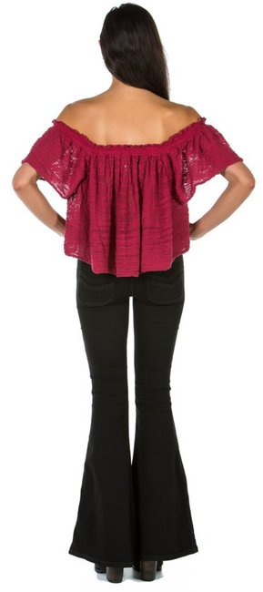 Free People Lightweight Off The Shoulders Sheer Swingy Super Soft Top Raspberry Image 8