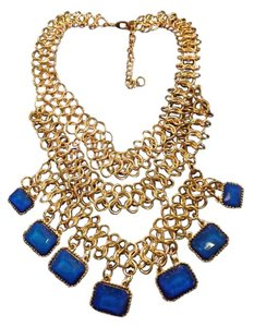 Chunky Blue Stone Necklace Nice Statement Piece, Large Chain Goldtone Necklace with Blue Stones!
