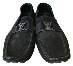 Louis Vuitton Suede Monte Carlo Loafers Black Flats