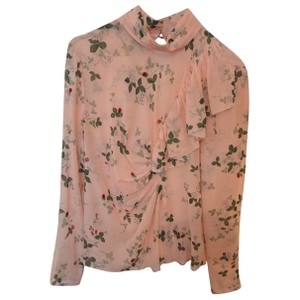 Topshop Silk Strawberry Ruffle Feminine Top Pink