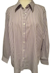 Foxcroft Whrinkle Free Striped Top Purple