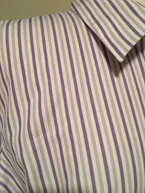 Foxcroft Whrinkle Free Striped Top Purple Image 1
