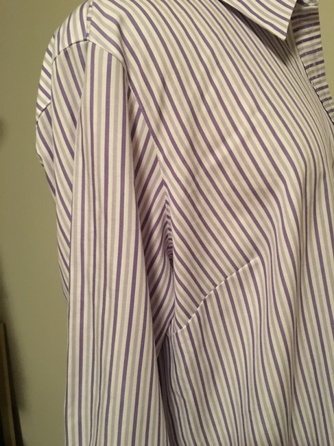 Foxcroft Whrinkle Free Striped Top Purple Image 2