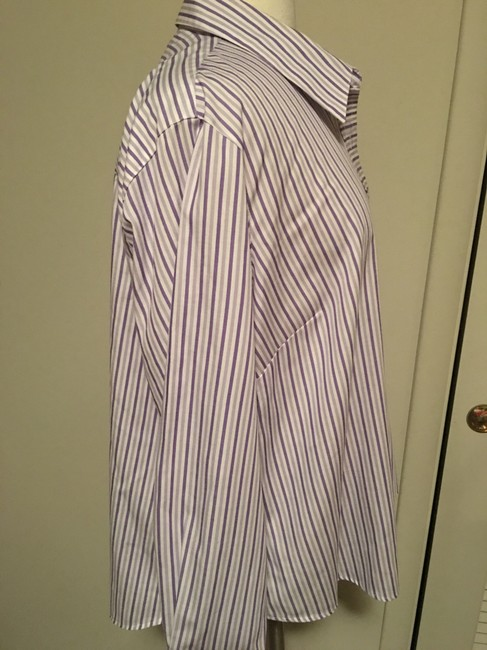 Foxcroft Whrinkle Free Striped Top Purple Image 3