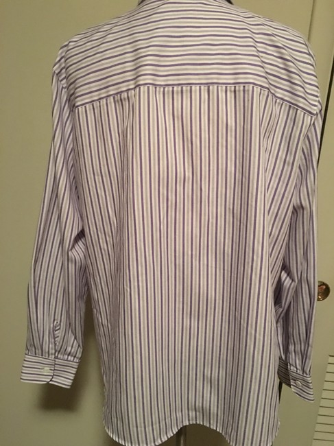 Foxcroft Whrinkle Free Striped Top Purple Image 4