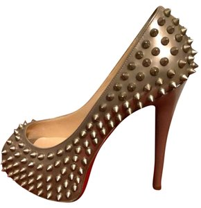 Christian Louboutin Heels Spikes Platform Vendome Beige Pumps