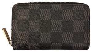 Louis Vuitton Damier Graphite Zippy Coin Purse Wallet ZCP Vertical N63076