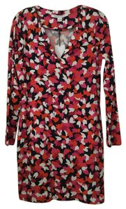 Diane von Furstenberg short dress Leaf Shift Pink Navy on Tradesy