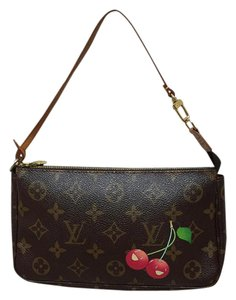 Louis Vuitton Monogram Limited Edition Coated Canvas Cosmetic Pouch Cross Body Wristlet