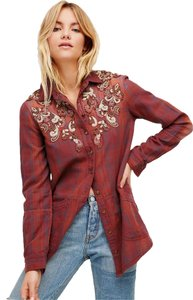 Free People Embellished Button Down Shirt Red