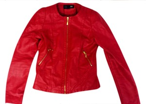Forever 21 Motorcycle Fitted Gold Leather Red Leather Jacket