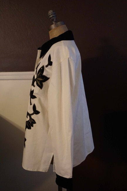 Victor Costa Button Up Shirt Black and White Womens Jean Jacket Image 1
