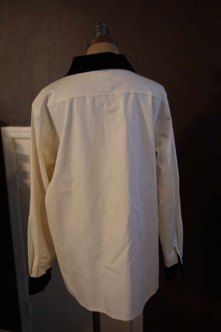 Victor Costa Button Up Shirt Black and White Womens Jean Jacket Image 3