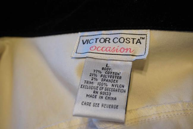 Victor Costa Button Up Shirt Black and White Womens Jean Jacket Image 4