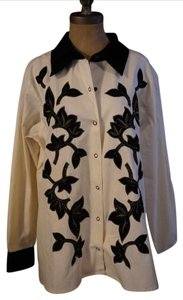 Victor Costa Button Up Shirt Black and White Womens Jean Jacket