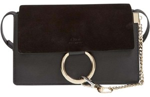 Chloé Chloe Faye Leather Suede Ring Cross Body Bag