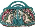 Isabella Fiore Satchel in turquoise and floral Image 0
