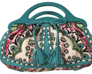 Isabella Fiore Satchel in turquoise and floral