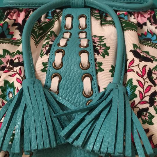 Isabella Fiore Satchel in turquoise and floral Image 1