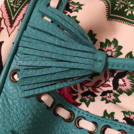 Isabella Fiore Satchel in turquoise and floral Image 11
