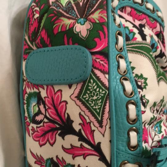 Isabella Fiore Satchel in turquoise and floral Image 3