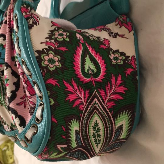 Isabella Fiore Satchel in turquoise and floral Image 5