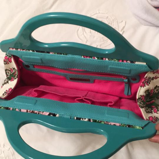 Isabella Fiore Satchel in turquoise and floral Image 9