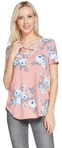 Amor Adore Floral Print Lattice Stappy Blush T Shirt