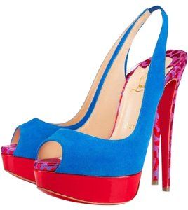 Christian Louboutin Heels Studded Lady Cabo Blue/Pink/Red Platforms
