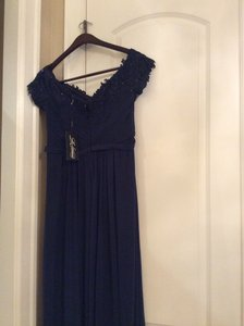 La Femme Navy With Stones On Sleeve And Around Neck 21613 Dress