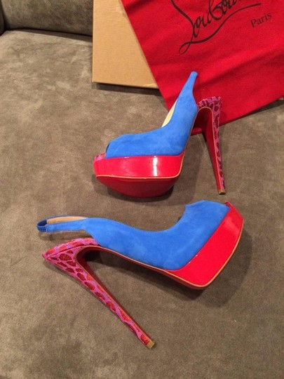 Christian Louboutin Heels Spikes Studded Lady Cabo Blue/Pink/Red Platforms Image 1