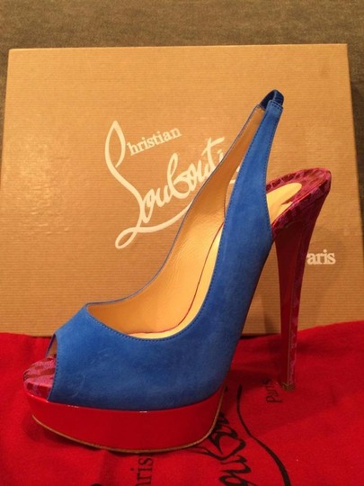Christian Louboutin Heels Spikes Studded Lady Cabo Blue/Pink/Red Platforms Image 6
