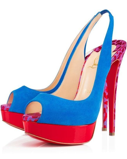 Christian Louboutin Heels Spikes Studded Lady Cabo Blue/Pink/Red Platforms Image 7
