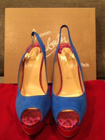 Christian Louboutin Heels Spikes Studded Lady Cabo Blue/Pink/Red Platforms Image 8