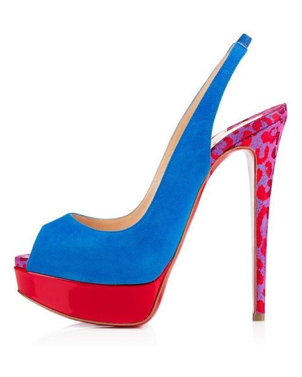Christian Louboutin Heels Spikes Studded Lady Cabo Blue/Pink/Red Platforms Image 9