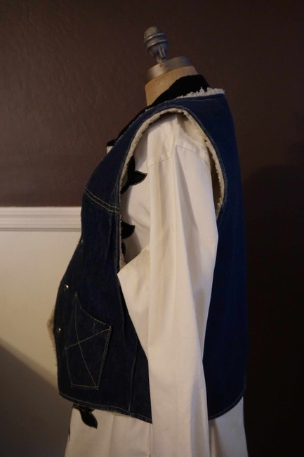 Other Jean Button Up Sheepskin Western Vest Image 2