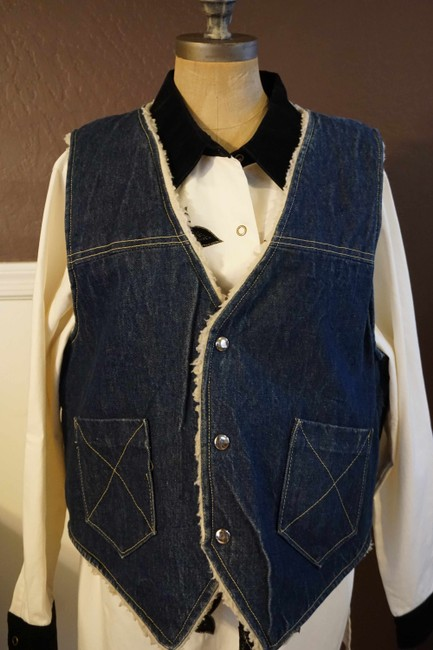 Other Jean Button Up Sheepskin Western Vest Image 4