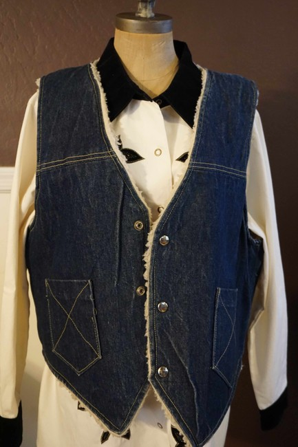 Other Jean Button Up Sheepskin Western Vest Image 5
