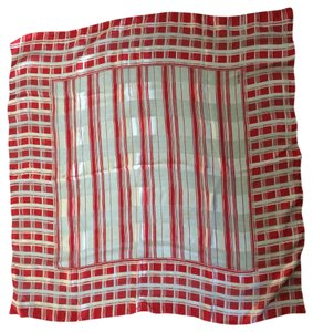 Bill Blass Vintage Red White Silk Square Scarf Graphic Print Stripes L