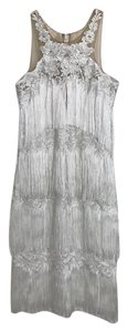 Marchesa Notte Fringe Hem Dress
