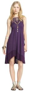 Free People short dress purple Star Lace Witchy Slip Heavy Lace on Tradesy