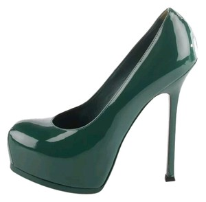 Saint Laurent Tribtoo Tribute Vernice Patent Leather Ysl Emerald Green Pumps