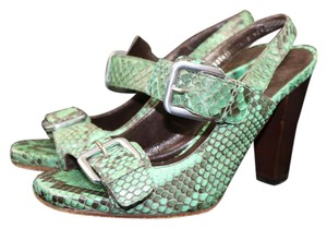 Cole Haan Leather Summer Italian Green Sandals