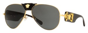 Versace Versace Womens VE 2150Q 100287 Gold And Black Fashion Aviator Sunglass
